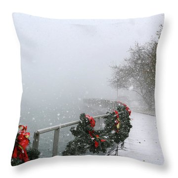 Boardwalk Snowstorm 2 2017 Throw Pillow