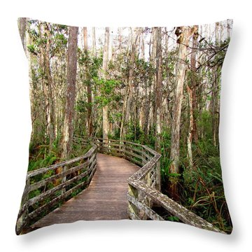 Throw Pillow featuring the photograph Boardwalk Through Corkscrew Swamp by Barbara Bowen