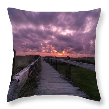 Boardwalk To Pacific Ocean Throw Pillow by Michael J Bauer