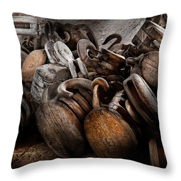Boat - Block And Tackle  Throw Pillow