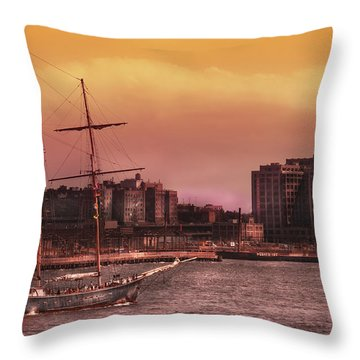 Boat - Ny - The Clipper  Throw Pillow by Mike Savad