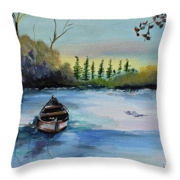 Throw Pillow featuring the painting Boat Abandoned On The Lake by Jan Dappen