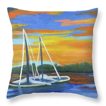 Boat Adrift Throw Pillow