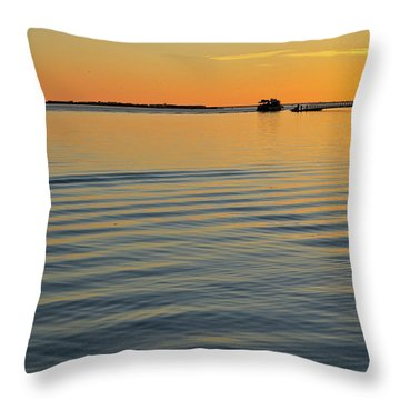 Boat And Dock At Dusk Throw Pillow