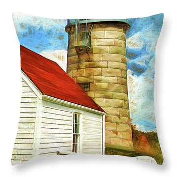 Boat And Lighthouse, Monhegan, Maine Throw Pillow by Dave Higgins
