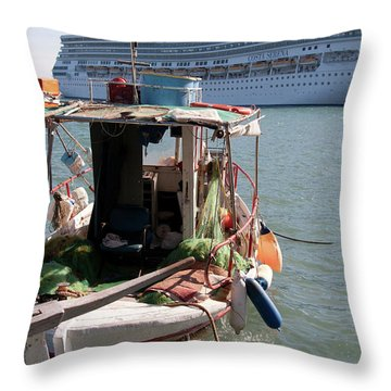 Boat And Ship Throw Pillow
