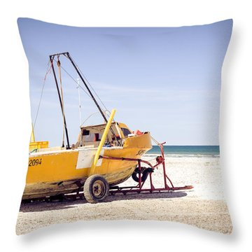 Boat And The Beach Throw Pillow by Silvia Bruno