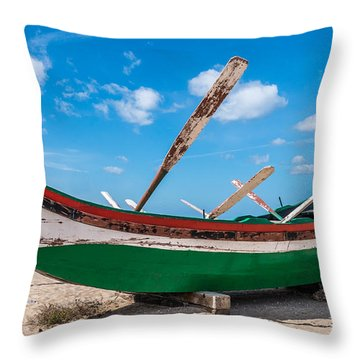 Boat Ashore Throw Pillow