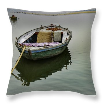 boat at Ganges Throw Pillow