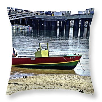 Boat At The Beach Provincetown Throw Pillow