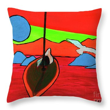 Boat, Bird And Moon Throw Pillow