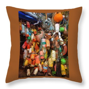 Throw Pillow featuring the photograph Crab Pot Buoys by Thom Zehrfeld