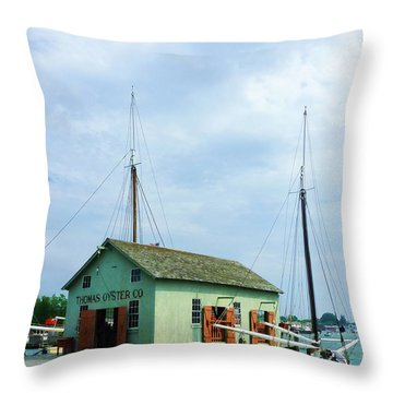 Boat By Oyster Shack Throw Pillow by Susan Savad
