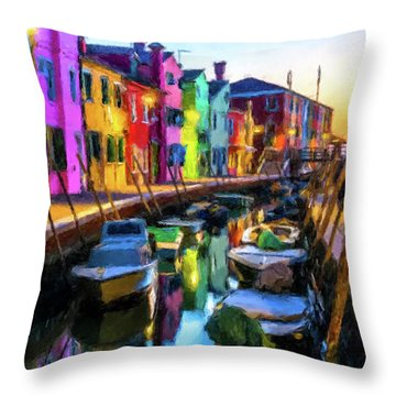 Boat Canal Throw Pillow