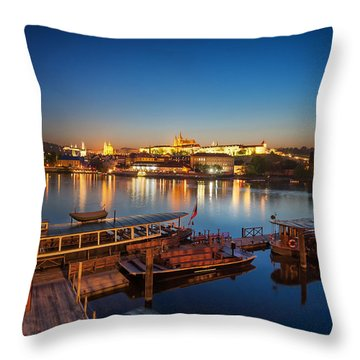Boat Dock Near St. Vitus Cathedral, Prague, Czech Republic. Throw Pillow