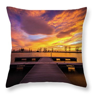 Boat Dock Sunset Throw Pillow