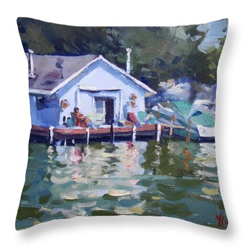 Boat House At Tonawanda Canal Throw Pillow