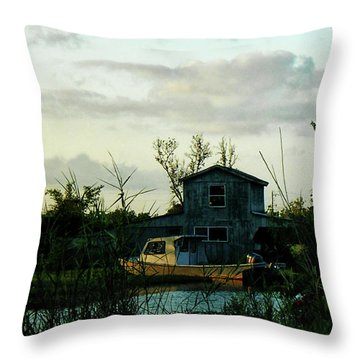 Throw Pillow featuring the photograph Boat House by Cynthia Powell