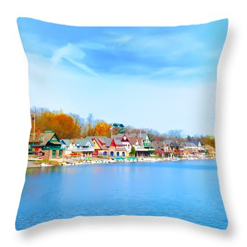 Boat House Row From West River Drive Throw Pillow by Bill Cannon