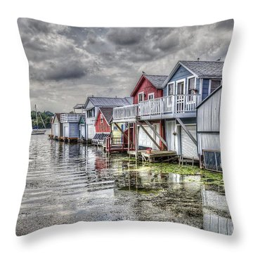 Boat Houses In The Finger Lakes Throw Pillow
