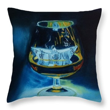 Boat In A Glass Throw Pillow by Rod Jellison
