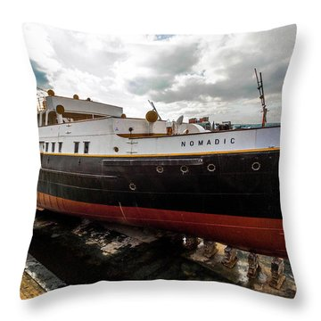 Boat In Drydock Throw Pillow