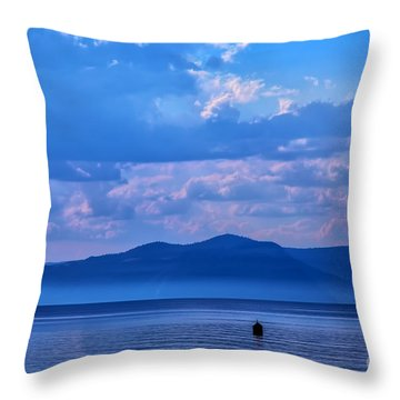 Boat In Lake Throw Pillow
