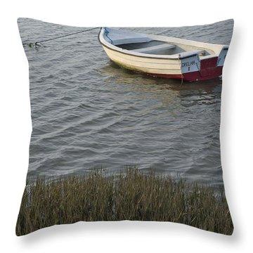 Boat In Ria Formosa - Faro Throw Pillow