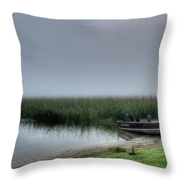 Boat In The Fog Throw Pillow