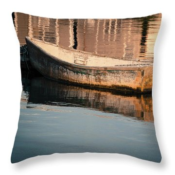 Boat In The Harbor Throw Pillow