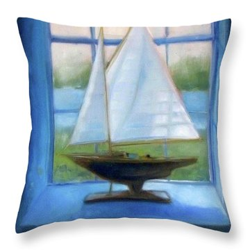 Boat In The Window Throw Pillow by Mary Hubley