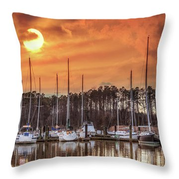 Boat Marina On The Chesapeake Bay At Sunset Throw Pillow