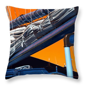 Throw Pillow featuring the photograph Boat Mast Pop Art by John Rizzuto