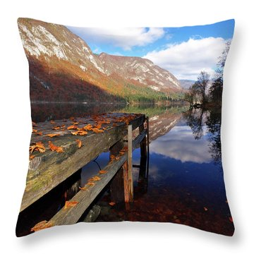 Boat Mooring At Lake Bohijn Throw Pillow by Graham Hawcroft pixsellpix