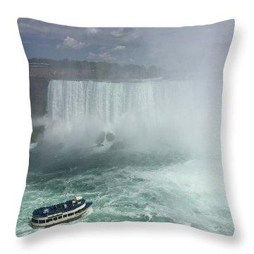 Boat Near Niagara Falls Throw Pillow