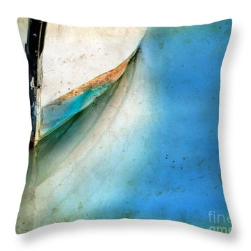 Bow Of An Old Boat Reflecting In Water Throw Pillow by Jill Battaglia