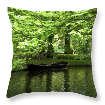 Boat On A Lake Throw Pillow by Manuela Constantin