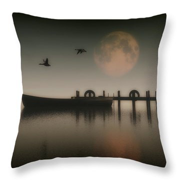 Boat On A Lake With Geese Flying Over Throw Pillow