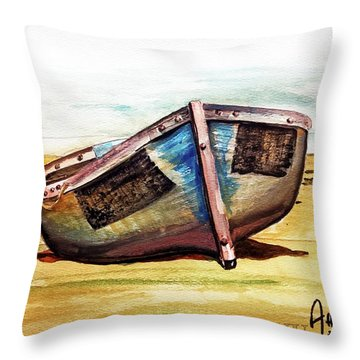 Boat On Beach Throw Pillow