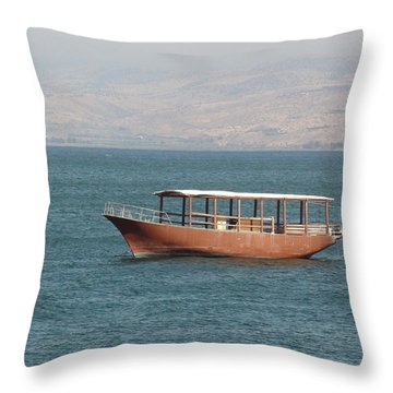 Boat On Sea Of Galilee Throw Pillow