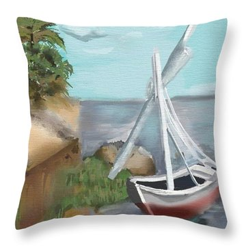 Boat On The Bank Of River  Throw Pillow