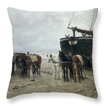 Boat On The Beach At Scheveningen Throw Pillow by Anton Mauve