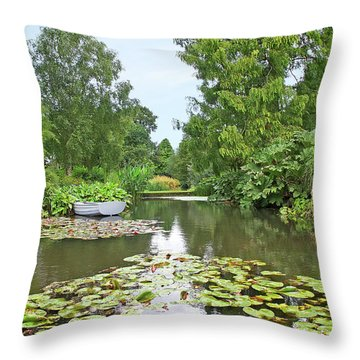 Boat On The Lake Throw Pillow by Gill Billington