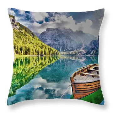 Boat On The Lake Throw Pillow
