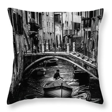 Boat On The River-bw Throw Pillow
