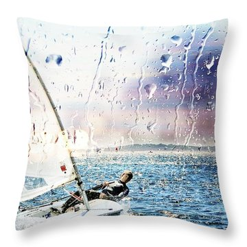 Boat On The Sea Throw Pillow