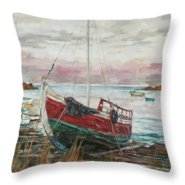 Boat On The Shore Throw Pillow