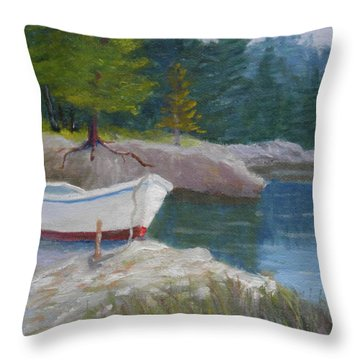 Boat On Tidal River Throw Pillow