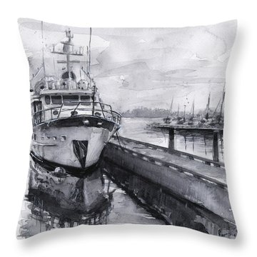 Boat On Waterfront Marina Kirkland Washington Throw Pillow by Olga Shvartsur