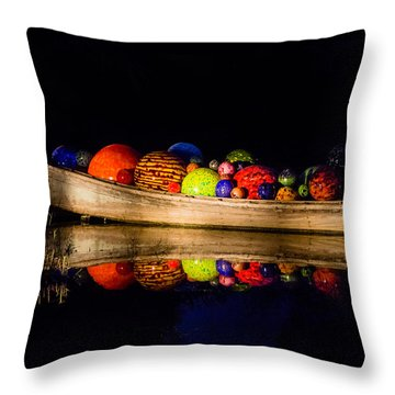 Boat Reflections Throw Pillow